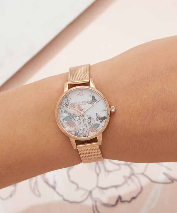 OLIVIA BURTON LONDON  Midi Signature Floral Rose Gold Mesh Watch OB16FS91 – Midi Dial in Floral and Rose Gold - Other view