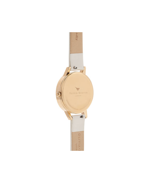 OLIVIA BURTON LONDON Bejewelled Florals Vegan Nude & GoldOB16BF14 – Midi Dial Round in Gold and Nude - Back view
