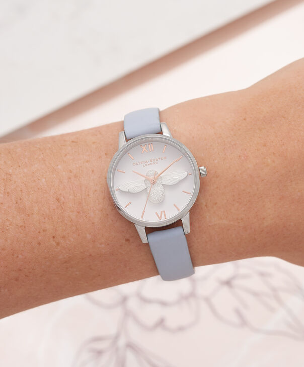 OLIVIA BURTON LONDON  Midi 3D Bee Chalk Blue, Silver & Rose Gold Watch OB16AM125 – Midi Dial Round in Silver and Blue - Other view