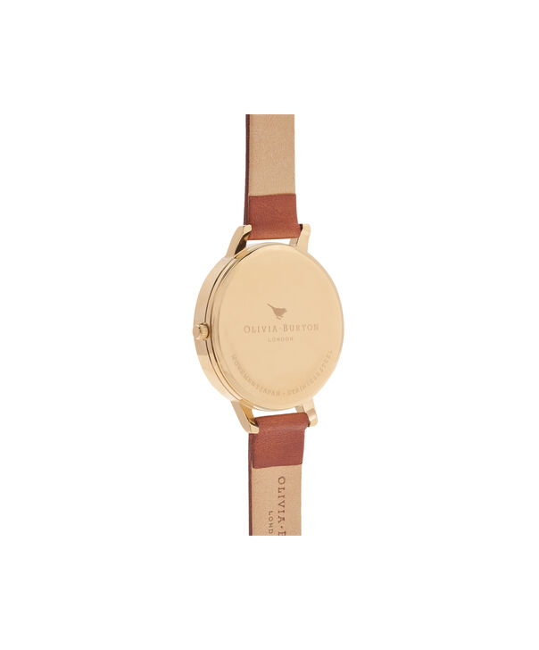 OLIVIA BURTON LONDON  English Garden Tan & Gold Watch OB16ER07 – Big Dial in White Floral and Tan - Back view