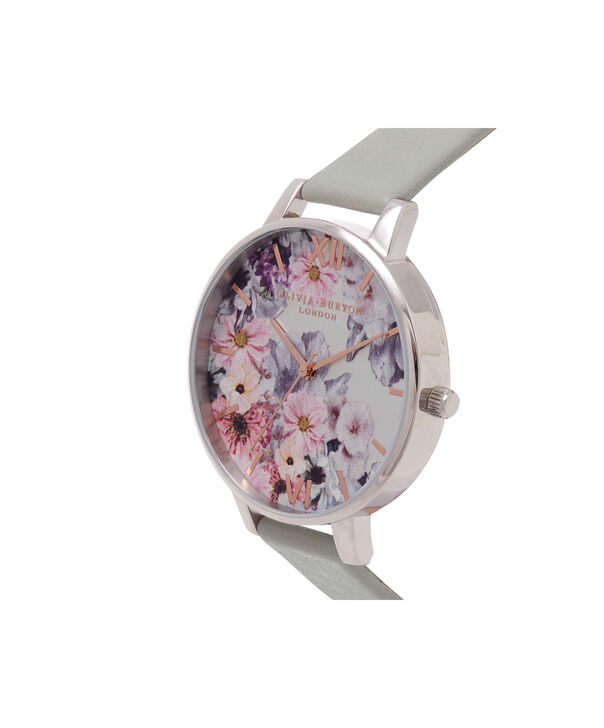 OLIVIA BURTON LONDON  Enchanted Garden Grey & Silver Watch OB15FS76 – Big Dial Round in Floral and Grey - Side view