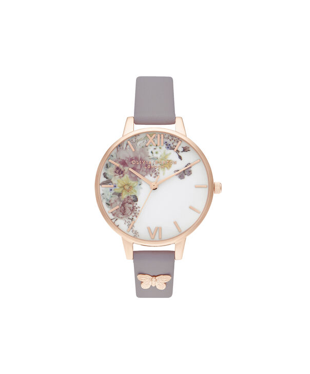 OLIVIA BURTON LONDON Enchanted Garden Demi Grey Lilac & Rose GoldOB16EG129 – Demi Dial In Grey And Rose Gold - Front view