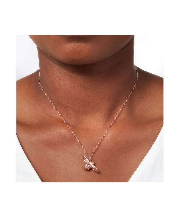 OLIVIA BURTON LONDON Bejewelled Bee Necklace Rose Gold & AmethystOBJAMN43 – Necklace in Rose Gold - Back view