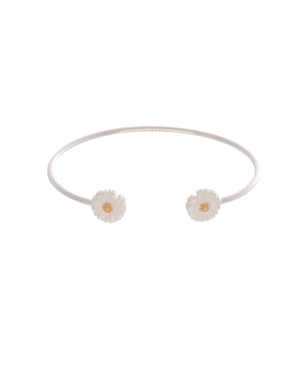 OLIVIA BURTON LONDON  Daisy Open Ended Bangle Silver & Gold OBJ16DAB09 – 3D Daisy Bangle - Front view