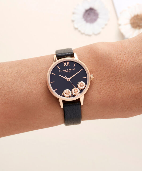 OLIVIA BURTON LONDON  Dancing Daisy Black & Rose Gold Watch OB16CH05 – Midi Dial Round in Black and Rose Gold - Other view