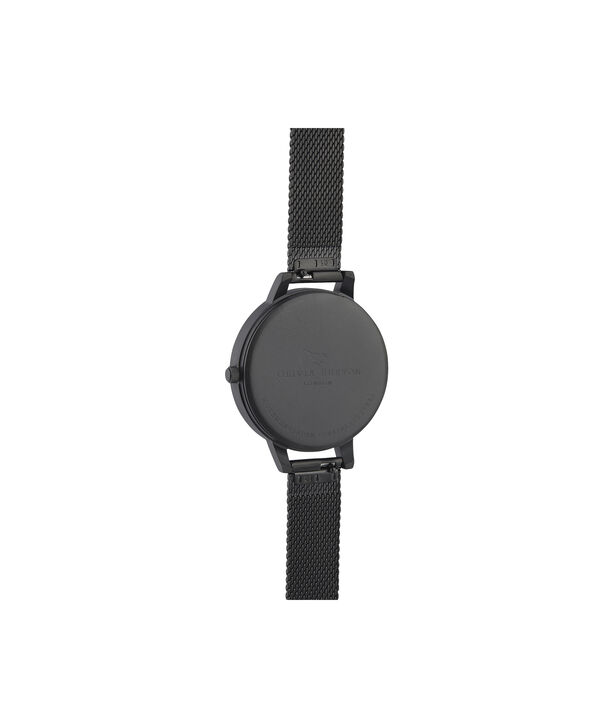 OLIVIA BURTON LONDON After Dark Silver & Matte Black MeshOB16AD51 – Demi Dial In Black And Ip Black - Back view