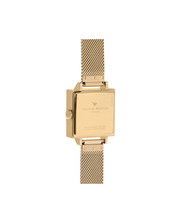 OLIVIA BURTON LONDON  Square Dial 3D Bee Gold Mesh Watch OB16AM90 – Midi Dial Square in Black and Gold - Back view