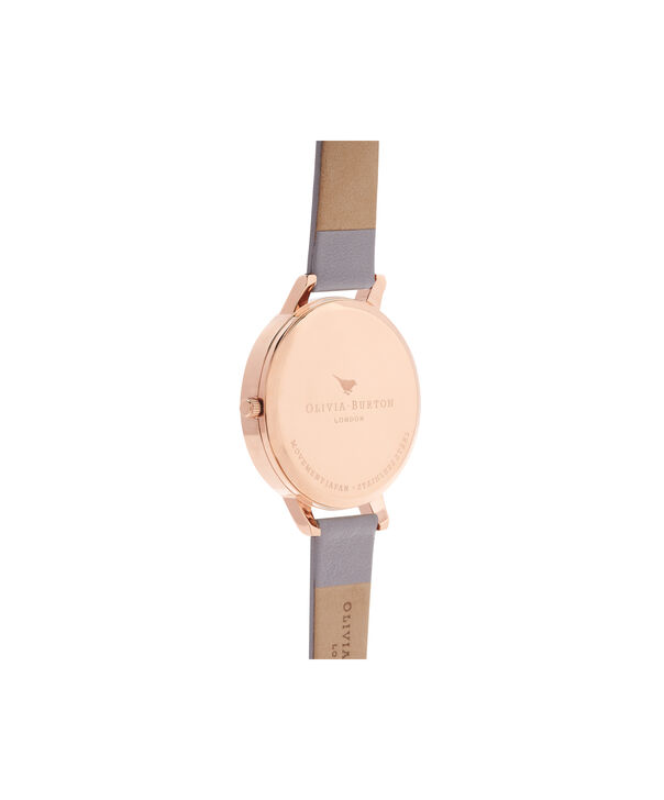 OLIVIA BURTON LONDON  White Dial Grey Lilac & Rose Gold Watch OB16BDW16 – Big Dial in White and Grey Lilac - Back view