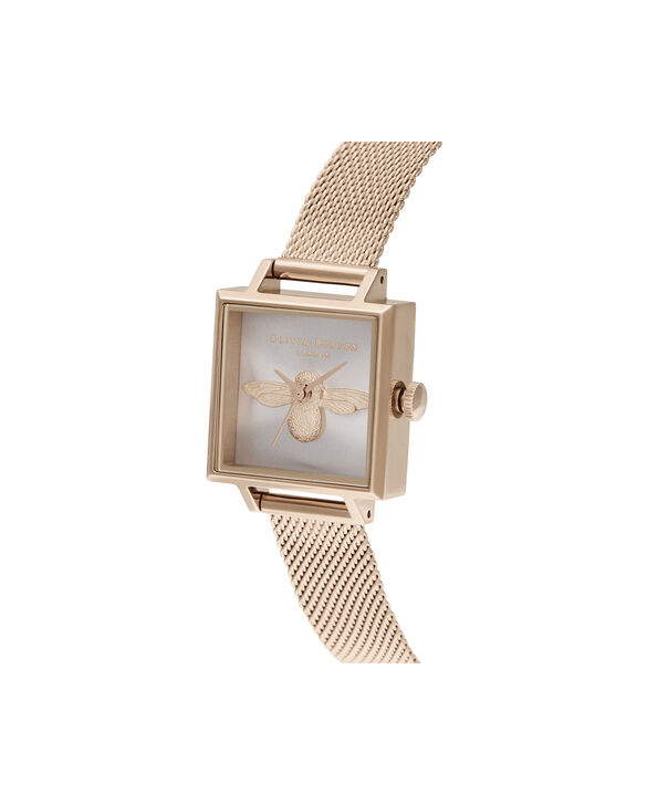 OLIVIA BURTON LONDON 3D Bee Square Dial Blush Sunray & Pale Rose GoldOB16AM164 – Demi Dial In Rose Gold And Rose Gold - Side view