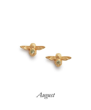 OLIVIA BURTON LONDON Celebration Bee Studs Gold & Peridot OBJAME102 – Celebration Bee Studs Gold & Peridot - Front view
