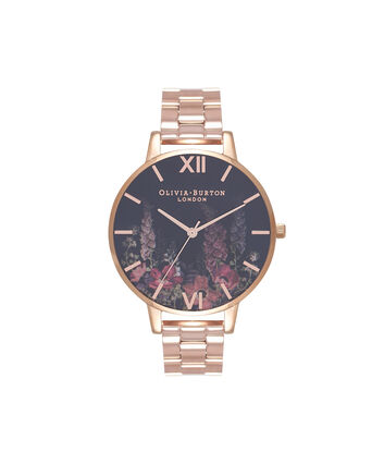 OLIVIA BURTON LONDON  Dark Bouquet Rose Gold Bracelet Watch OB16WG45 – Big Dial Round in Dark Floral and Rose Gold - Front view