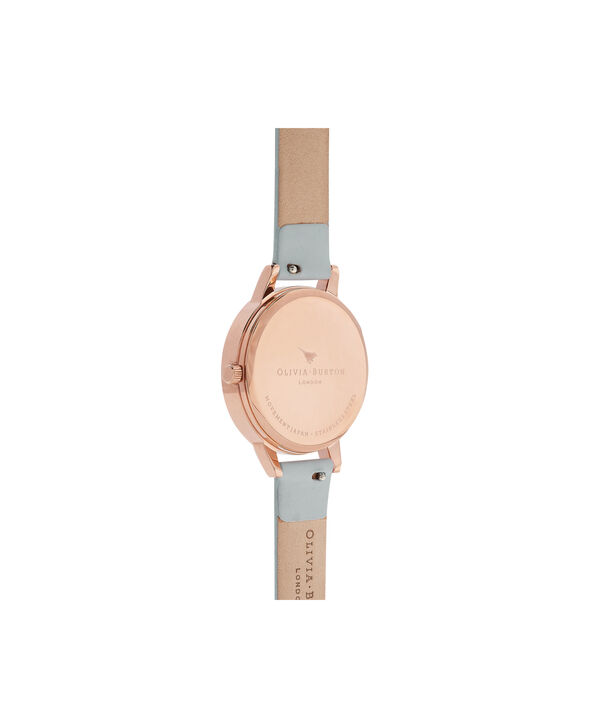 OLIVIA BURTON LONDON  Lace Detail Rose Petal Dial Chalk Blue & Rose Gold Watch OB16MV71 – Midi Dial Round in Rose Gold and Blue - Back view