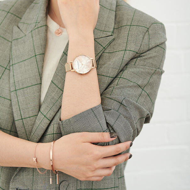 OLIVIA BURTON LONDON Abstract Florals Rose Gold Mesh Watch OB16VM15 – Big Dial in White and Rose Gold - Other view
