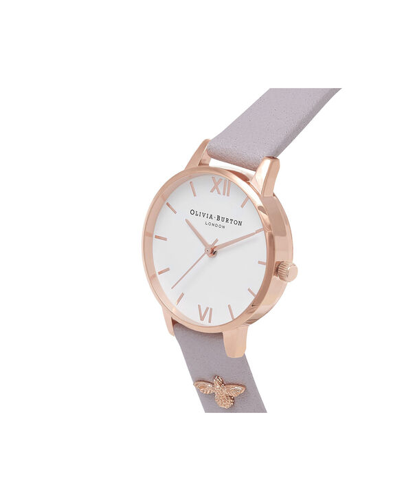 OLIVIA BURTON LONDON  3D Bee Embellished Strap Grey Lilac & Rose Gold Watch OB16ES11 – Midi Dial Round in Rose Gold and Grey Lilac - Side view
