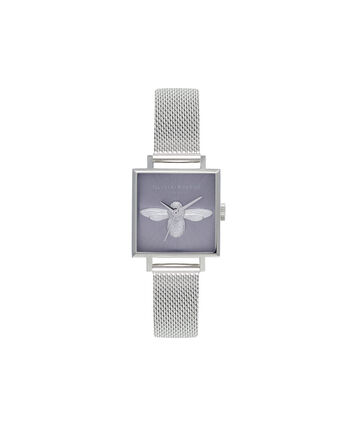 OLIVIA BURTON LONDON 3D BeeOB16AM136 – Midi Square Silver - Front view