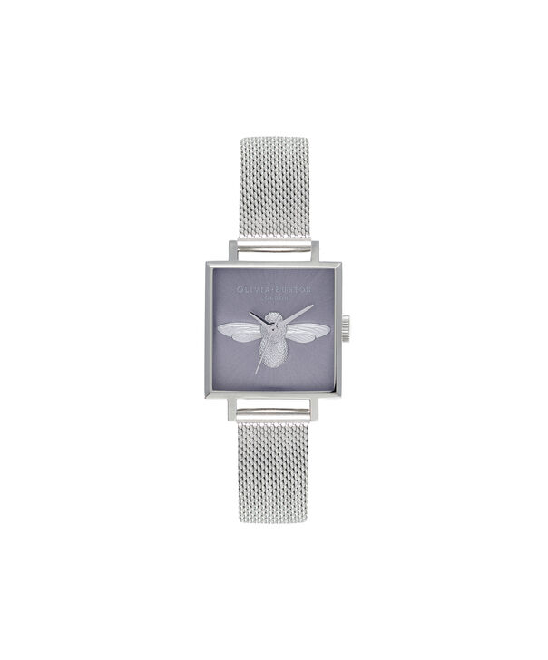 OLIVIA BURTON LONDON  Square Dial 3D Bee Stainless Steel Mesh Watch OB16AM136 – Midi Square Silver - Front view