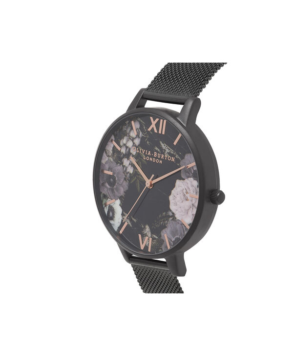 OLIVIA BURTON LONDON  After Dark Marble Floral Ip Black Mesh Watch OB16AD21 – Big Dial Round in Floral and Black - Side view