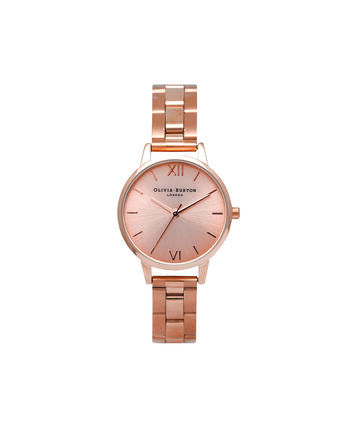 OLIVIA BURTON LONDON Sunray DialOB13BL05B – Midi Dial Round in Rose Gold - Front view