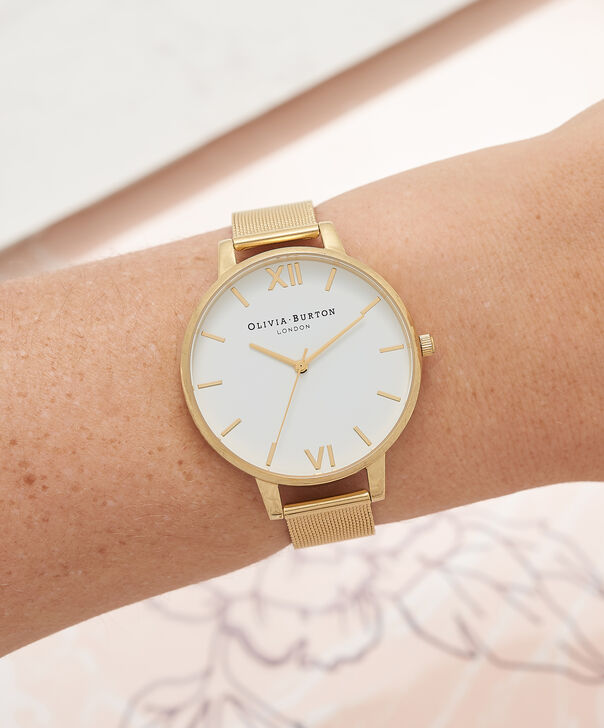 OLIVIA BURTON LONDON  White Dial Gold Mesh Watch OB15BD84 – Big Dial Round in White and Gold - Other view