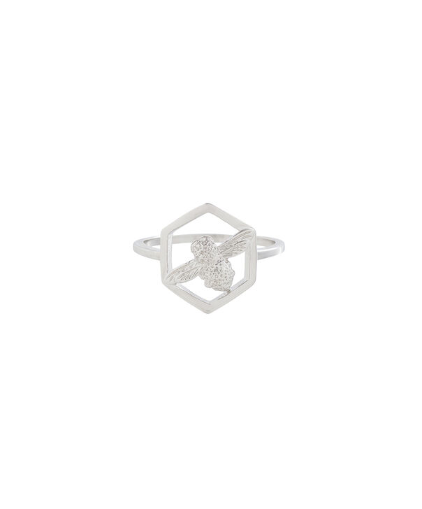 OLIVIA BURTON LONDON  Honeycomb Bee Ring Silver OBJ16AMR07 – Honeycomb Bee Ring - Front view