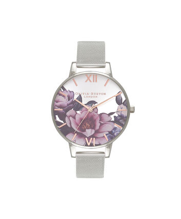 OLIVIA BURTON LONDON Peony Parlour Sunray Big Dial WatchOB16PL60 – Big Dial in silver and Silver & Rose Gold - Front view