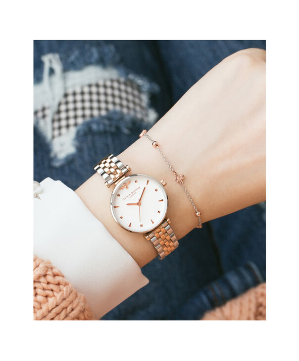 OLIVIA BURTON LONDON  T-Bar Bracelet Silver & Rose Gold Watch OB16AM93 – Midi in White and Silver and Rose Gold - Other view