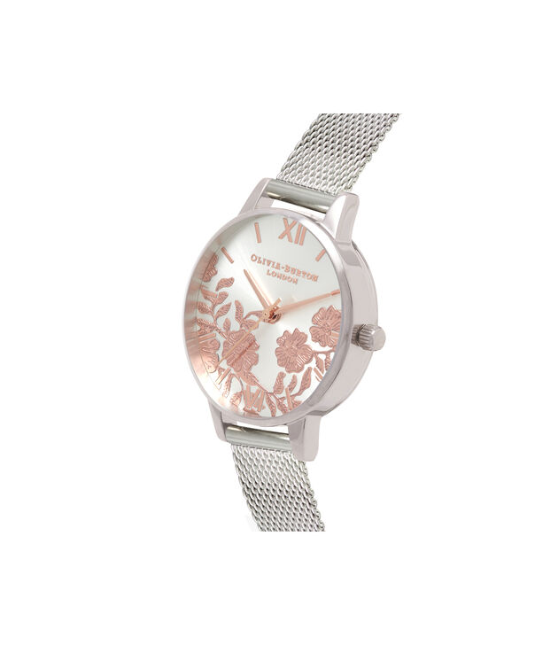 OLIVIA BURTON LONDON  Lace Detail Rose Gold & Silver Mesh OB16MV90 – Midi Dial Round in Silver - Side view