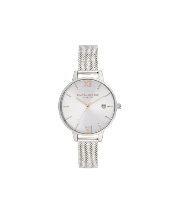 OLIVIA BURTON LONDON Sunray Demi Dial Watch with Boucle MeshOB16DE01 – Demi Dial in silver and Silver & Rose Gold - Front view