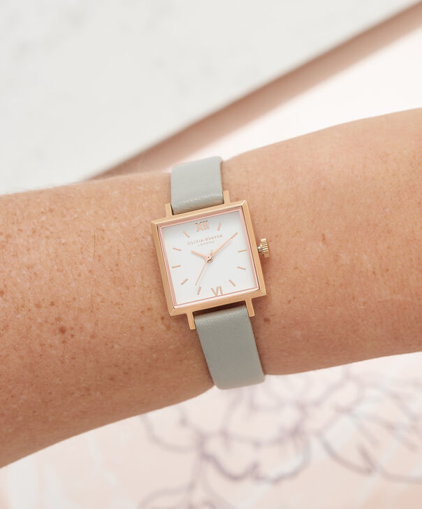 OLIVIA BURTON LONDON  Big Dial Square Dial Grey & Rose Gold Watch OB16SS23 – Big Dial Square in White and Grey - Other view