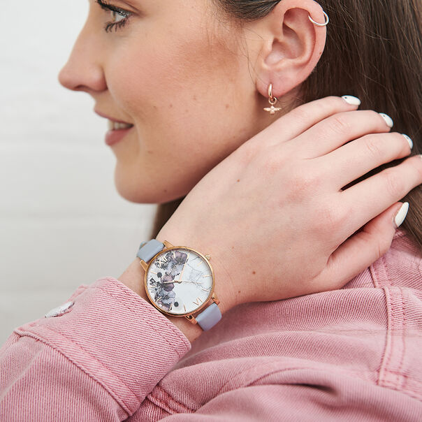 OLIVIA BURTON LONDON  Marble Floral Chalk Blue & Rose Gold OB16MF10 – Big Dial Round in Rose Gold and Blue - Other view