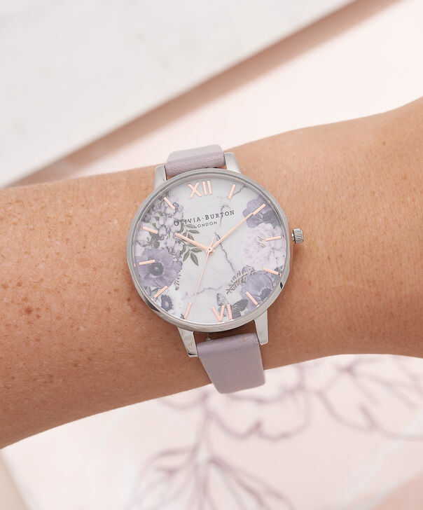 OLIVIA BURTON LONDON  Marble Floral Grey Lilac, Rose Gold & Silver Watch OB16MF05 – Big Dial in Rose Gold and Grey Lilac - Other view