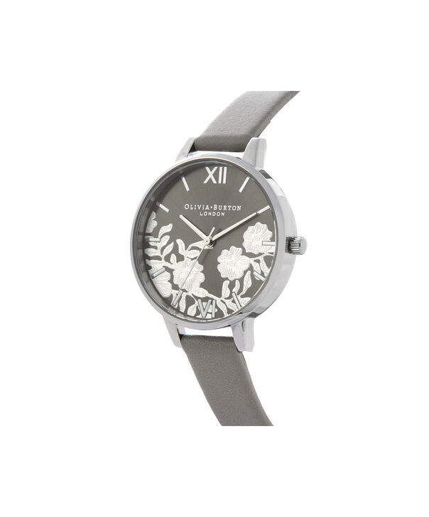 OLIVIA BURTON LONDON Lace Detail Sunray Demi Dial WatchOB16MV96 – Demi Dial in grey and Silver - Side view