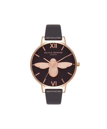 OLIVIA BURTON LONDON  3D Bee Black Dial & Rose Gold Watch OB16AM98 – Big Dial Round in Black - Front view
