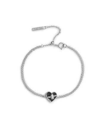 OLIVIA BURTON LONDON Love Bug Chain Bracelet Black & SilverOBJLHB06 – SHOPBAG_LABEL - Front view