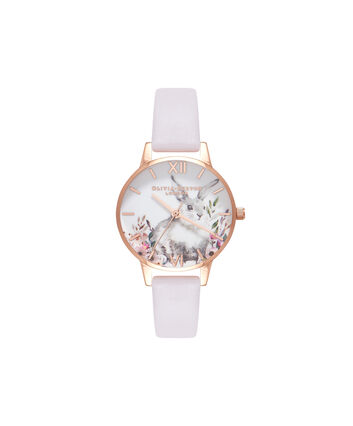 OLIVIA BURTON LONDON Illustrated Animals Bunny Blush & Rose Gold WatchOB16WL66 – Midi Dial Round in Blush and Rose Gold - Front view