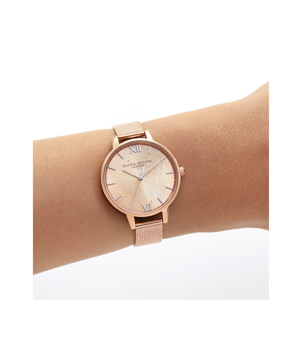 OLIVIA BURTON LONDON Celestial Demi Dial Watch with Boucle MeshOB16GD12 – Demi Dial in rose gold and Silver & Rose Gold - Other view