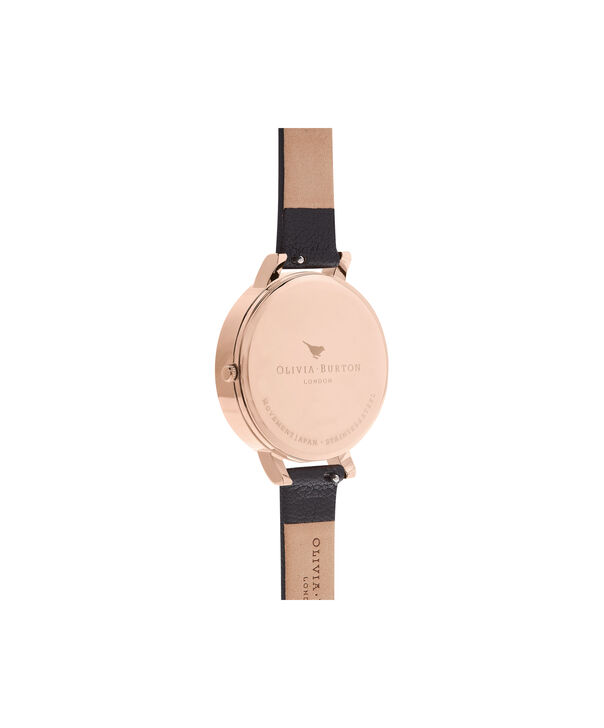 OLIVIA BURTON LONDON  Embroidered Dial 3D Bee Black and Rose Gold Watch OB16EM02 – Big Dial Round in Floral and Black - Back view