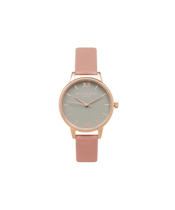 OLIVIA BURTON LONDON  Grey Dial Rose Gold Watch OB15MD60 – Midi Dial in Grey and Rose Gold - Front view
