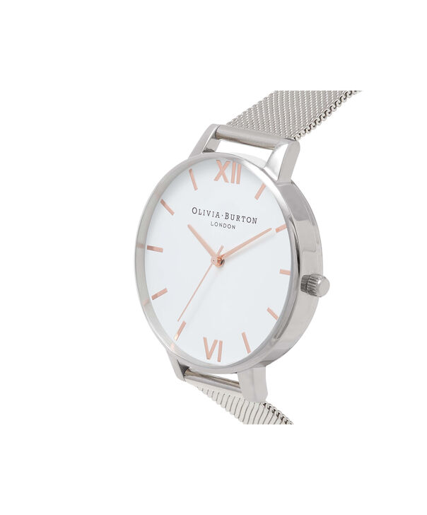OLIVIA BURTON LONDON  White Dial Rose Gold & Silver Mesh Watch OB16BD97 – Big Dial Round in White and Silver - Side view