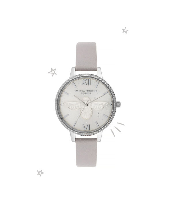 OLIVIA BURTON LONDON Celestial 3D Bee Demi Dial WatchOB16GD05 – Demi Dial in grey and Silver - Front view