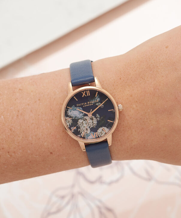 OLIVIA BURTON LONDON  Signature Floral Navy & Rose Gold Watch OB16WG13 – Midi Dial Round in Floral and Navy - Other view
