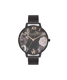 After Dark Marble Floral Ip Black Mesh Watch