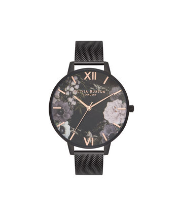 OLIVIA BURTON LONDON  After Dark Marble Floral Ip Black Mesh Watch OB16AD21 – Big Dial Round in Floral and Black - Front view