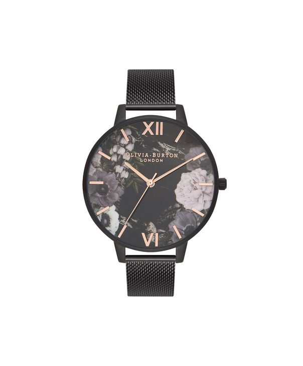 Ladies After Dark Marble Floral Ip Black Mesh Watch | Olivia Burton London