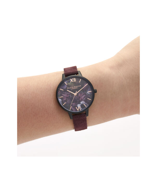 OLIVIA BURTON LONDON After Dark Case Cuff Demi Dial Watch with Wine SuedeOB16AD44 – Demi Dial in pink and Black & Rose Gold - Other view