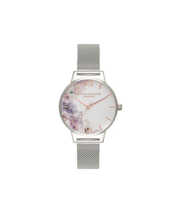 OLIVIA BURTON LONDON Watercolour FloralsOB16PP37 – Midi Dial Round in White and Silver - Front view