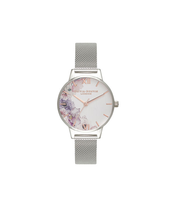 OLIVIA BURTON LONDON  Watercolour Florals Silver Mesh Watch OB16PP37 – Midi Dial Round in White and Silver - Front view