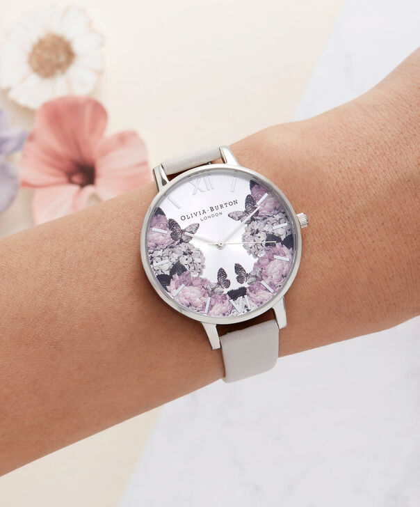 OLIVIA BURTON LONDON  Signature Florals Blush & Silver OB16WG51 – Big Dial Round in Silver - Other view