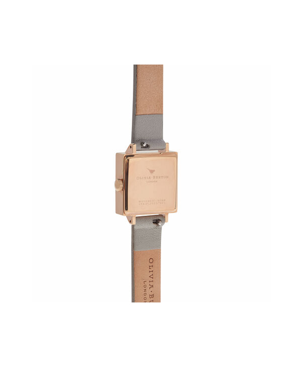 OLIVIA BURTON LONDON  Midi Signature Floral Rose Gold and Grey Watch OB16WG41 – Midi Dial in Floral and Rose Gold - Back view