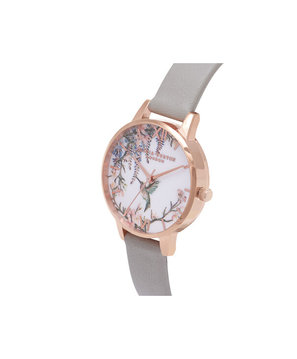 OLIVIA BURTON LONDON  Painterly Prints Grey & Rose Gold Watch OB16PP22 – Midi Dial in White Floral and Grey - Side view